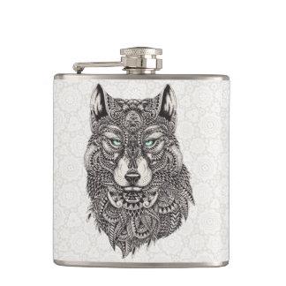 詳しいオオカミのポートレートの絵 フラスク