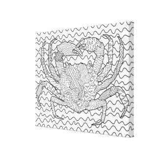 詳しい海のカニの落書き6 キャンバスプリント