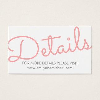 詳細を結婚するピンクのモダンなタイポグラフィ 名刺