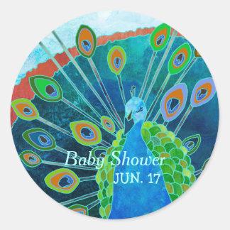 誇りを持ったな孔雀の青色児のシャワーの好意のステッカー ラウンドシール