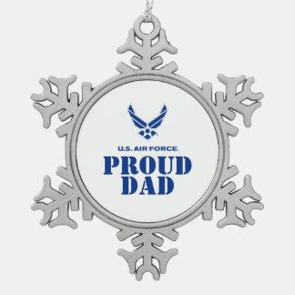 誇りを持ったな家族-小さい空軍ロゴ及び名前 スノーフレークピューターオーナメント