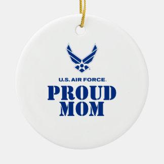 誇りを持ったな家族-小さい空軍ロゴ及び名前 セラミックオーナメント