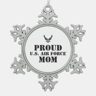 誇りを持ったな家族-黒いロゴ及び星 スノーフレークピューターオーナメント