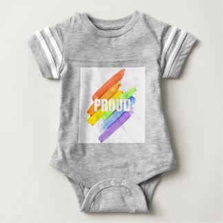誇りを持ったな水彩画の虹 ベビーボディスーツ