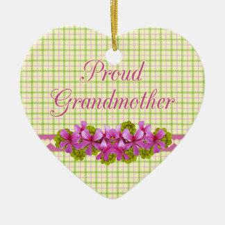 誇りを持ったな祖母の格子縞の想い出の品 セラミックオーナメント