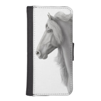 誇りを持ったなFriesianの馬のiPhoneのウォレットケース iPhoneSE/5/5sウォレットケース