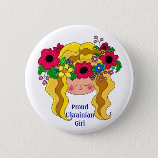 誇り高いウクライナの女の子のウクライナの民芸 缶バッジ