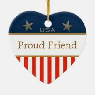 誇り高い友人米国の愛国心が強い写真のハートのオーナメント セラミックオーナメント
