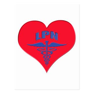 認可された実用的なナースLPNのケリュケイオンのハート ポストカード