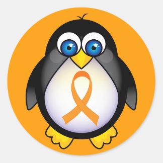 認識度のギフトのペンギンのオレンジリボン ラウンドシール