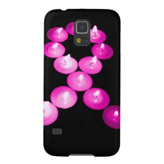 認識度のリボンのピンクの蝋燭 GALAXY S5 ケース