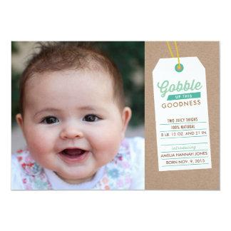 誕生の発表のティール(緑がかった色)の上の赤ん坊をがつがつむさぼって下さい 12.7 X 17.8 インビテーションカード