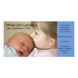誕生の発表の男の子の青い写真カードシンプル カード