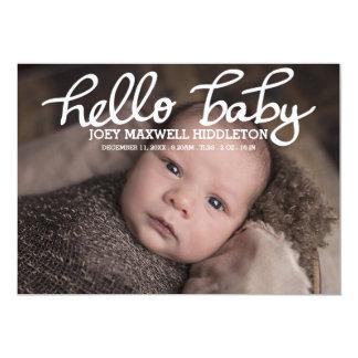 誕生の発表2の写真のこんにちは赤ん坊の原稿 12.7 X 17.8 インビテーションカード
