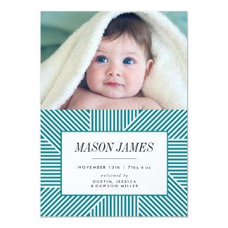 誕生の発表、赤ん坊の発表、青、男の子 12.7 X 17.8 インビテーションカード