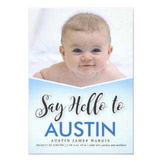 誕生のAnnouncment  の赤ん坊は挨拶します 12.7 X 17.8 インビテーションカード