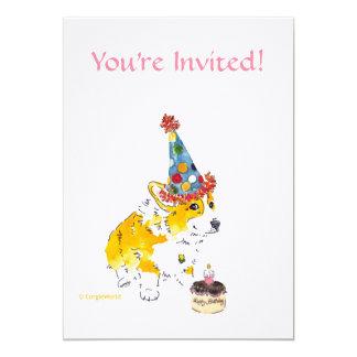 誕生会のコーギーの招待状 カード