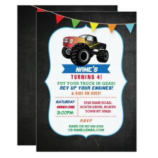 誕生会のトラック車モンスターの粉砕の招待 カード