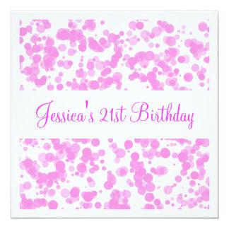誕生会のピンクの泡及び白 カード