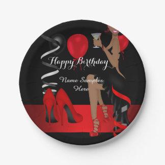 誕生会の民族赤く黒い靴のハイヒール ペーパープレート