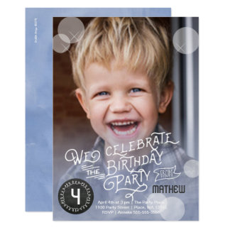 誕生会の水彩画|の招待状の男の子 12.7 X 17.8 インビテーションカード