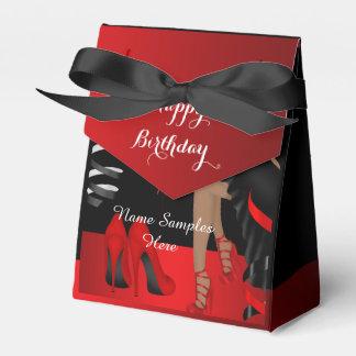 誕生会の赤く黒い靴のハイヒールの好意箱 フェイバーボックス