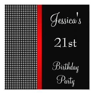 誕生会の赤く黒く及び白いドット・パターン カード