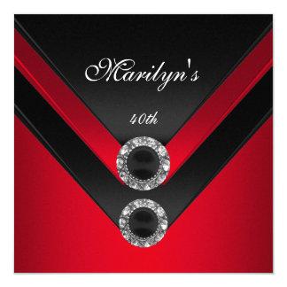 誕生会の黒の赤いダイヤモンドの宝石 カード