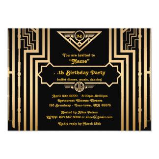 誕生会、Gatsbyのスタイル、アールデコ、gold&black 12.7 X 17.8 インビテーションカード