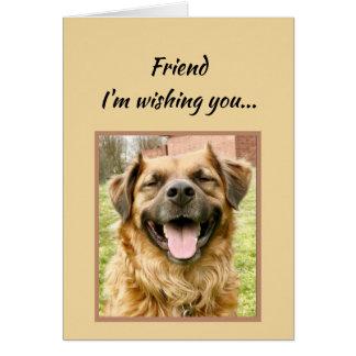 誕生日おめでとう犬を望んでいる友人 カード