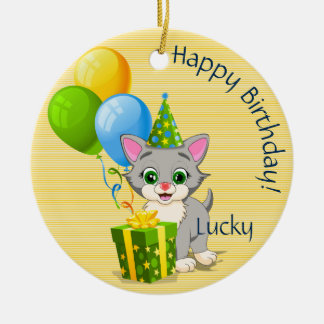 誕生日のかわいこちゃんの灰色の子ネコの漫画 セラミックオーナメント