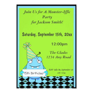 誕生日のためのパーティーの帽子を持つ青いモンスター カード