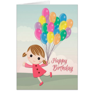誕生日のためのピンクの服の漫画の女の子 カード