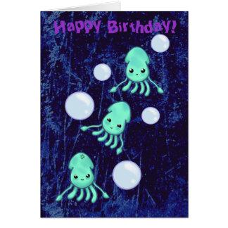 誕生日のイカの三重項及び泡 カード