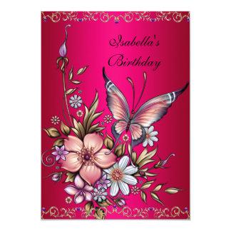 誕生日のエレガントなピンクのFushiaの花柄の蝶 12.7 X 17.8 インビテーションカード