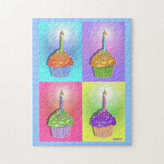 誕生日のカップケーキのパズル ジグソーパズル