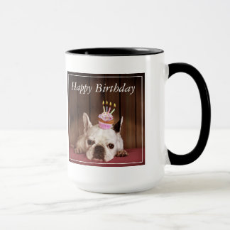 誕生日のカップケーキを持つフレンチ・ブルドッグ マグカップ