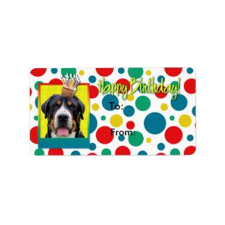 誕生日のカップケーキ-より素晴らしいスイス山犬 ラベル