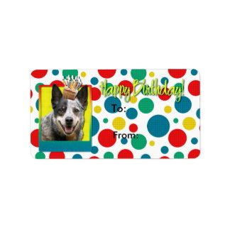 誕生日のカップケーキ-オーストラリアの牛犬 ラベル