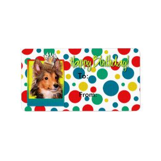 誕生日のカップケーキ-シェットランド・シープドッグの子犬-たる製造人 ラベル