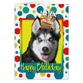 誕生日のカップケーキ-シベリアンハスキー カード
