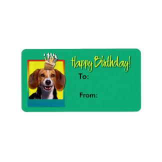 誕生日のカップケーキ-ビーグル犬 ラベル