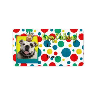 誕生日のカップケーキ-ブルドッグ-ライト ラベル