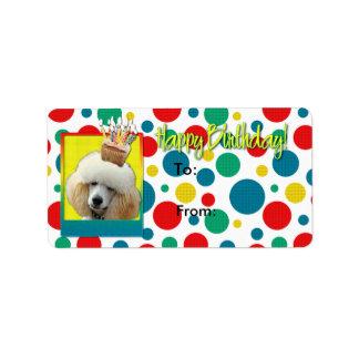 誕生日のカップケーキ-プードル-杏子 ラベル
