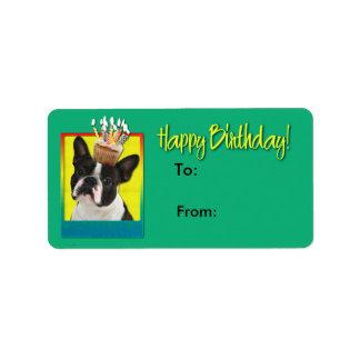 誕生日のカップケーキ-ボストンテリア ラベル