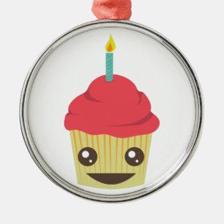誕生日のカップケーキ メタルオーナメント