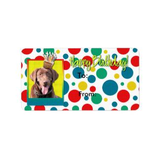 誕生日のカップケーキ-ラブラドール-チョコレート ラベル