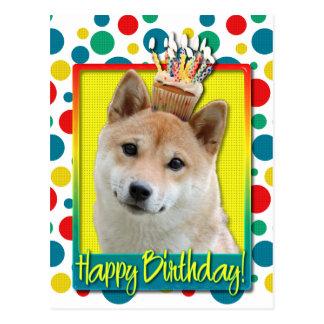 誕生日のカップケーキ-柴犬 ポストカード