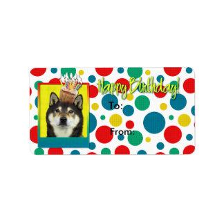 誕生日のカップケーキ-柴犬- Yasha ラベル
