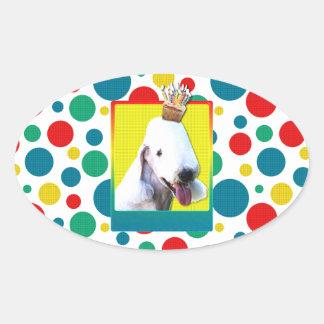 誕生日のカップケーキ- Bedlington 楕円形シール
